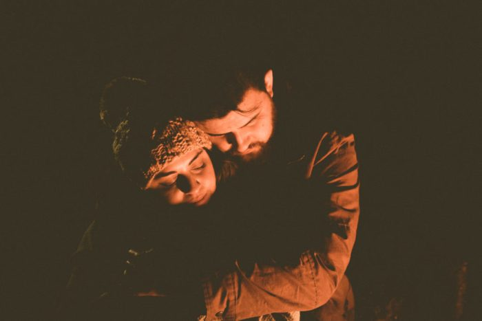 Campfire engagement shoot at Hotel Luna Mystica in Taos New Mexico