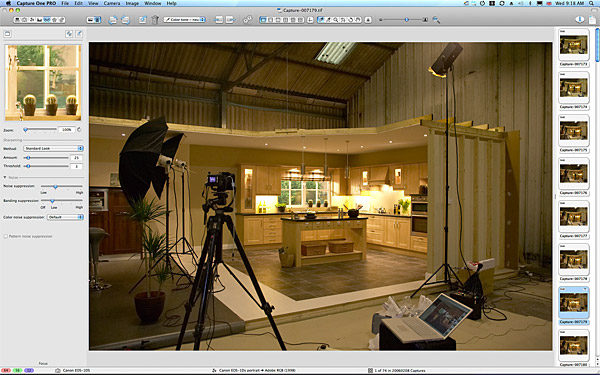 One of the room sets inside a warehouse near Dungannon where we were prodcing an image of the Ribbed Shaker Sandy Birch kitchen by OS Doors Ltd.