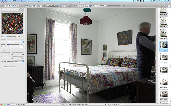 Setting up the bedroom image in Keri Johnston's townhouse.