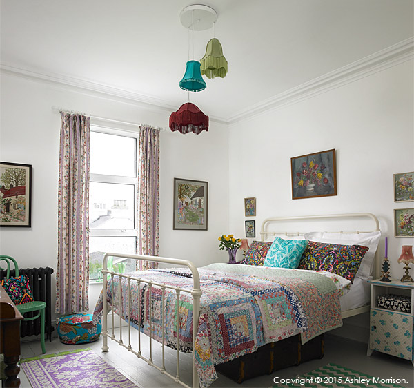 One of the bedrooms in Keri Johnston's townhouse which overlooks Ballyholme Bay in the County Down seaside town of Bangor.