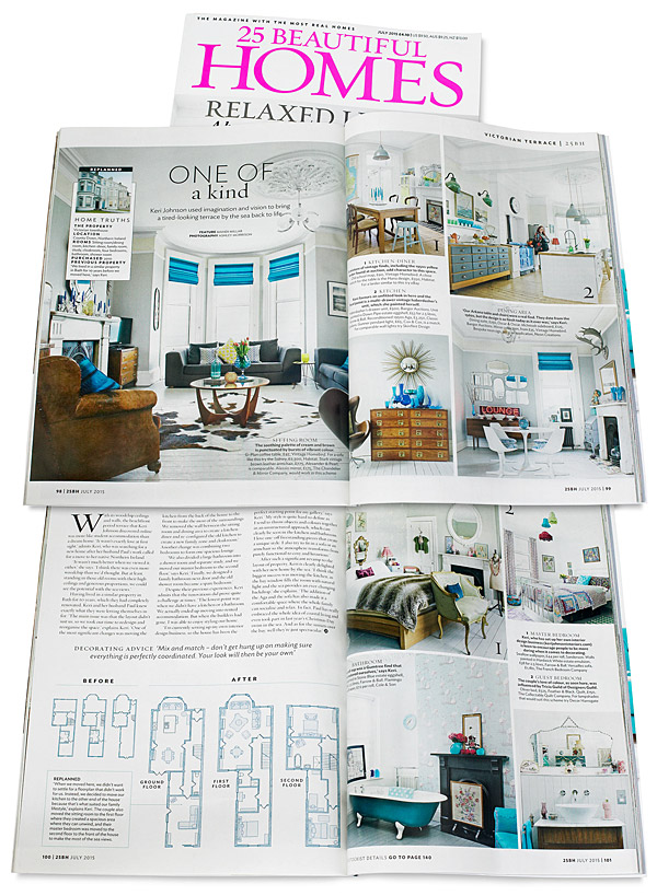 Pages 98 to 101 in the July 2015 issue of 25 Beautiful Homes magazine featuring Keri and Paul Johnston's townhouse which overlooks Ballyholme Bay in the County Down seaside town of Bangor.
