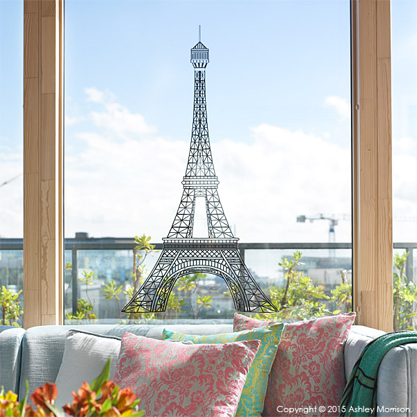 The Eiffel Tower window display in the sitting room in Charlotte Hamel's modern apartment in Dublin.