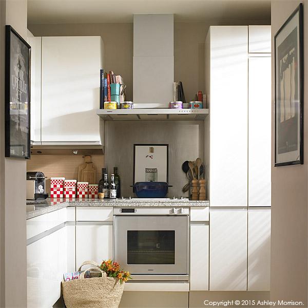 The kitchen of Charlotte Hamel's modern apartment in Dublin.