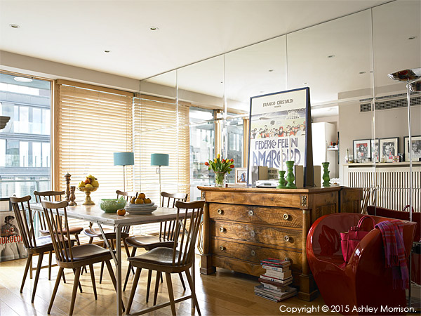 The living and dining room area of Charlotte Hamel's modern apartment in Dublin.