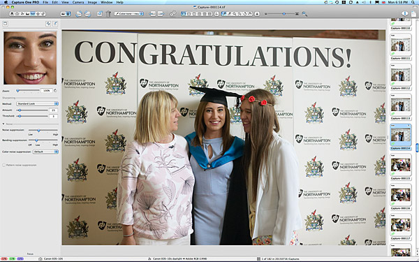 Chloe Morrison with her Mum and sister at the University of Northampton during the Graduation Award Ceremony.