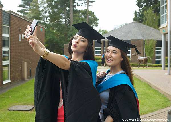 Vicky Baillie and Chloe Morrison at the University of Northampton during the Graduation Award Ceremony.