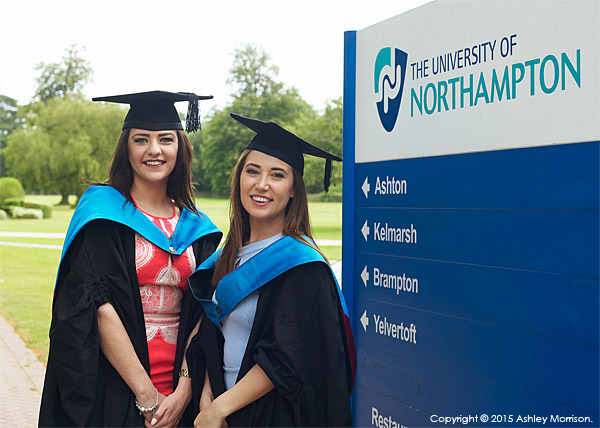 Vicky Baillie and Chloe Morrison at the University of Northampton during the Graduation Award Ceremony in July 2015.