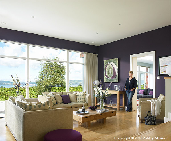 Anna McMinnis in the living room area of her contemporary detached house which overlooks the County Down town of Holywood and Belfast Lough.