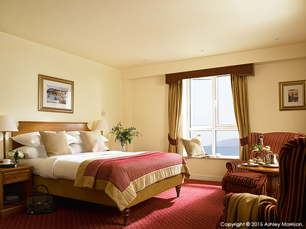 Classic bedroom at the Galway Bay Hotel on the promenade at Salthill.