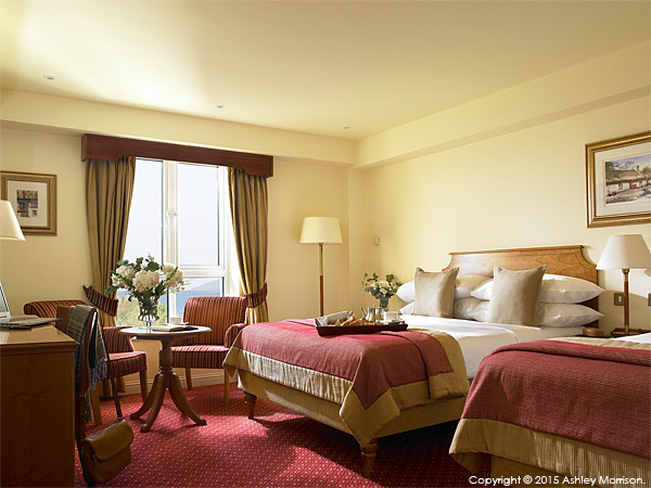 Classic double bedroom at the Galway Bay Hotel on the promenade at Salthill.