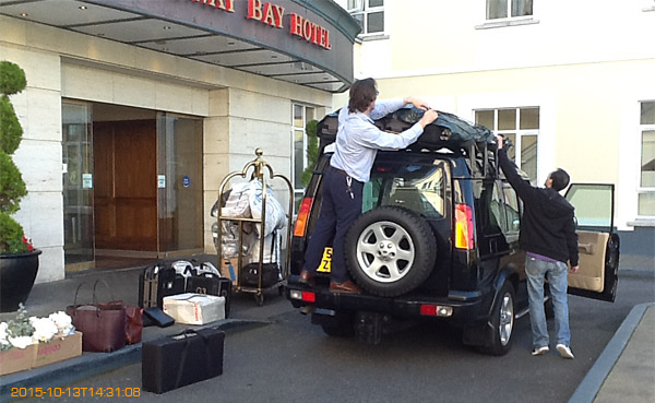 Packing the Land Rover outside the Galway Bay Hotel on the promenade at Salthill.