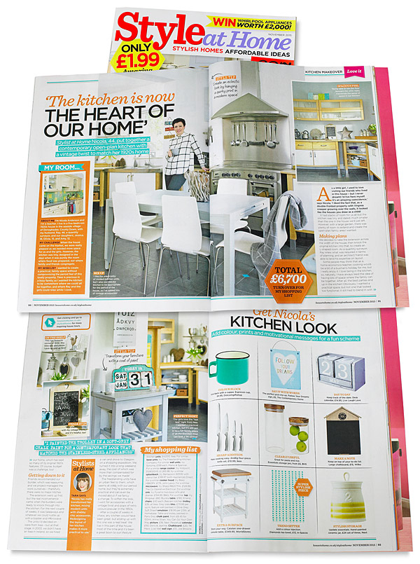 Pages 90 to 92 in the November 2015 issue of Style at Home magazine featuring the kitchen in Nicola and Ray Anderson's period house in the County Down town of Donaghadee.