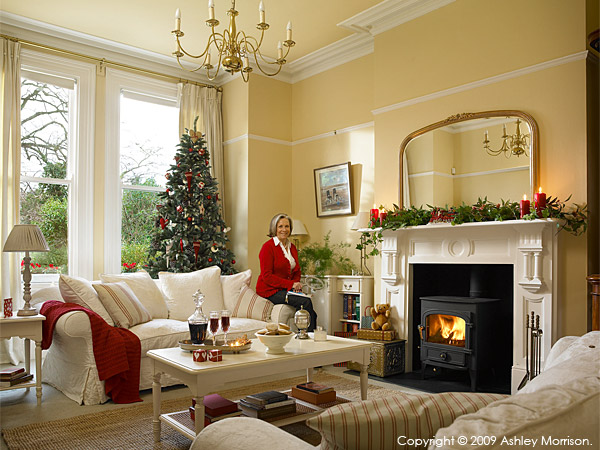 Helen Madden in the sitting room of her home in Holywood at Christmas.