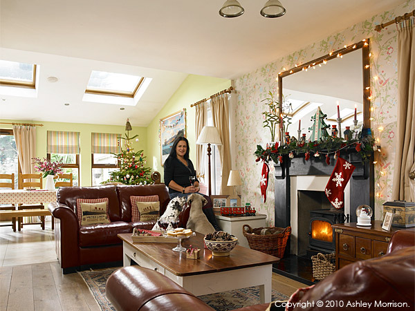 Sarah Mitchell in the living room of her Victorian gentleman's detached house called Ivy Lodge in the County Down town of Bangor at Christmas.