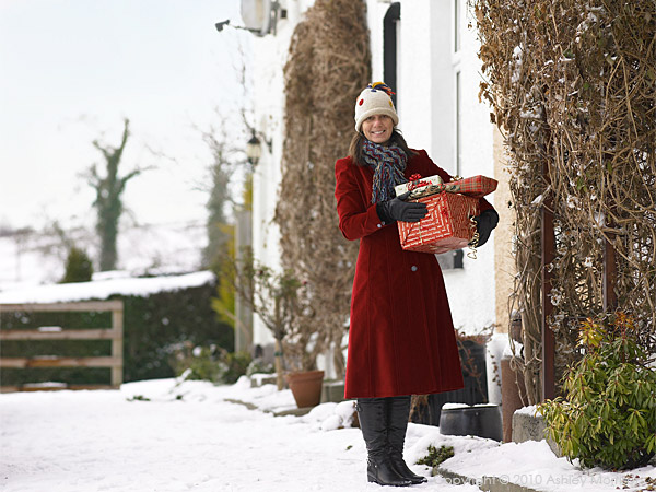 Julie Morrow outside her cottage near Comber in County Down at Christmas.
