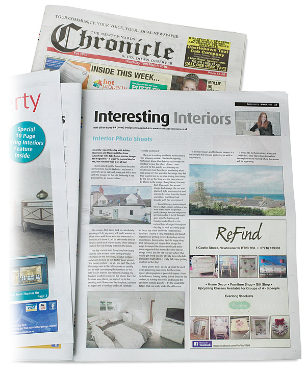 Page 23 in the 'Hot Property and cool living' property supplement inside The Newtownards Chronicle newspaper on the 10th of March 2016 about the shoot at Jillian Espey's former Fisherman's Cottage in the County Down village of Groomsport.