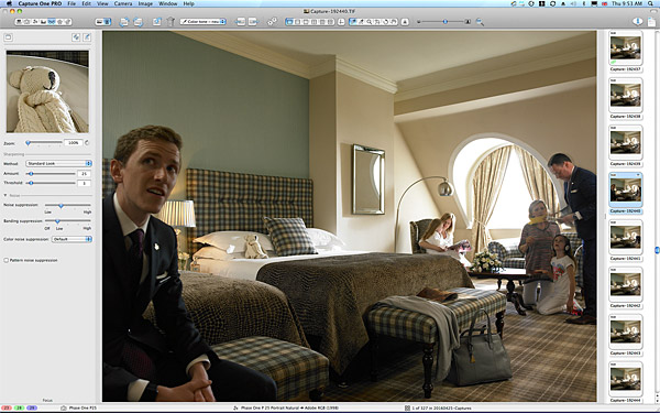 Behind the scenes during the shoot in the Deluxe Family Room at Killarney Park Hotel in the Irish County of Kerry.