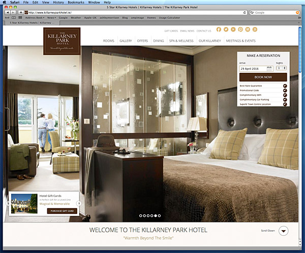 Screen shot taken of the Home page on the Killarney Park Hotel's website.