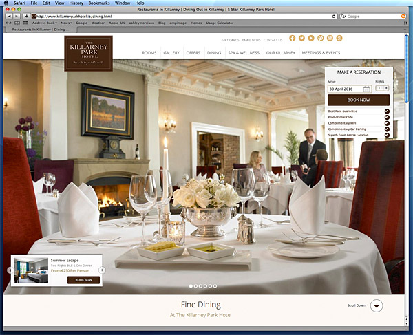 TScreen shot taken of the dining page on the Killarney Park Hotel's website.