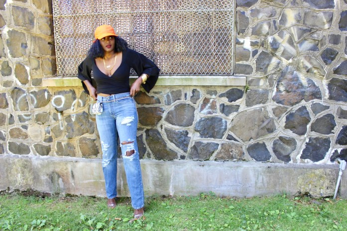 thrift store finds, levis, neon hat, shoedazzle curly bob