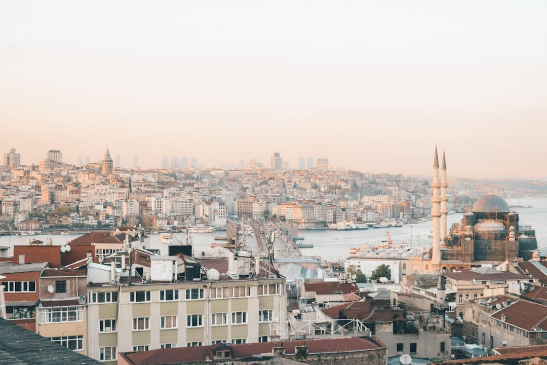 View of Istanbul skyline from rooftop near Buyuk Valide Han