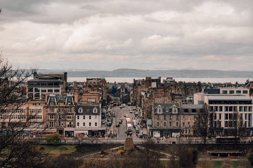 The view toward New Town and the Firth of Forth from Castle Hill in Edinburgh, Scotland