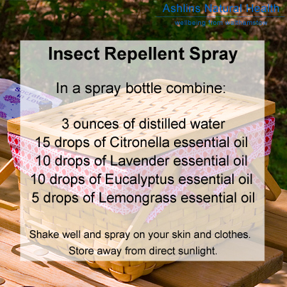 insect repellent spray, essential oils