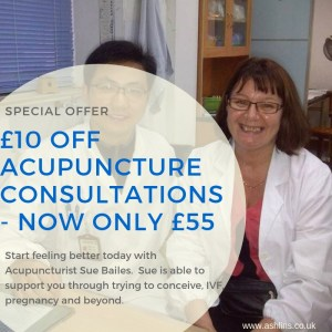 Save £10 on acupuncture with Sue Bailes
