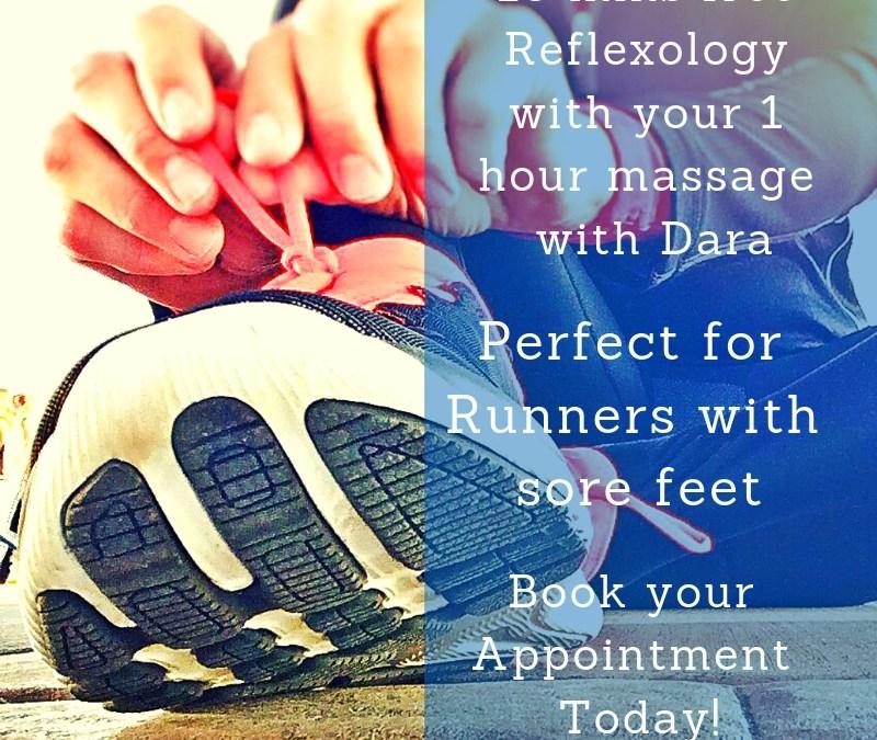 15 mins FREE reflexology when you book a massage with Dara