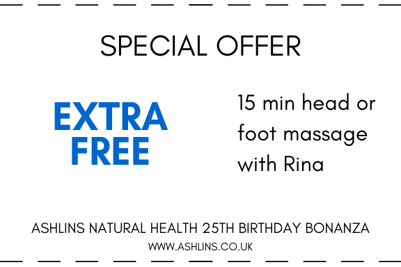 OFFER: 15 mins extra free head or foot massage with Rina. 13th-26th May 2019