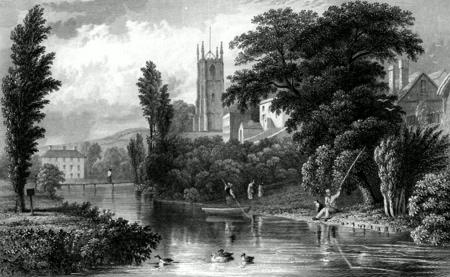 ANTIQUE PRINT: TIVERTON CHURCH FROM THE BRIDGE, DEVONSHIRE.