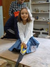 Class 4-5 making scratching posts for PAWS Animal Adoption Center