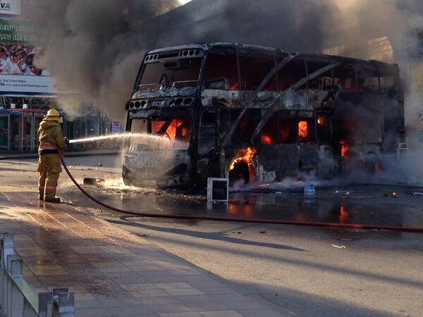 bangkok bus burned down