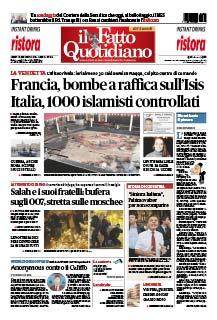 Prima pagina de Il Fatto Quotidiano - 16 nov 2015