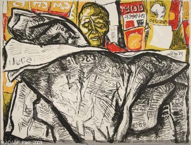 """Renato Guttuso, """"Uomo con giornale"""" -1965"""