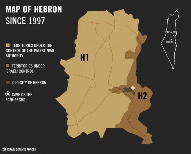 Hebron Mappa Cisgiordania Palestina settori H1 H2