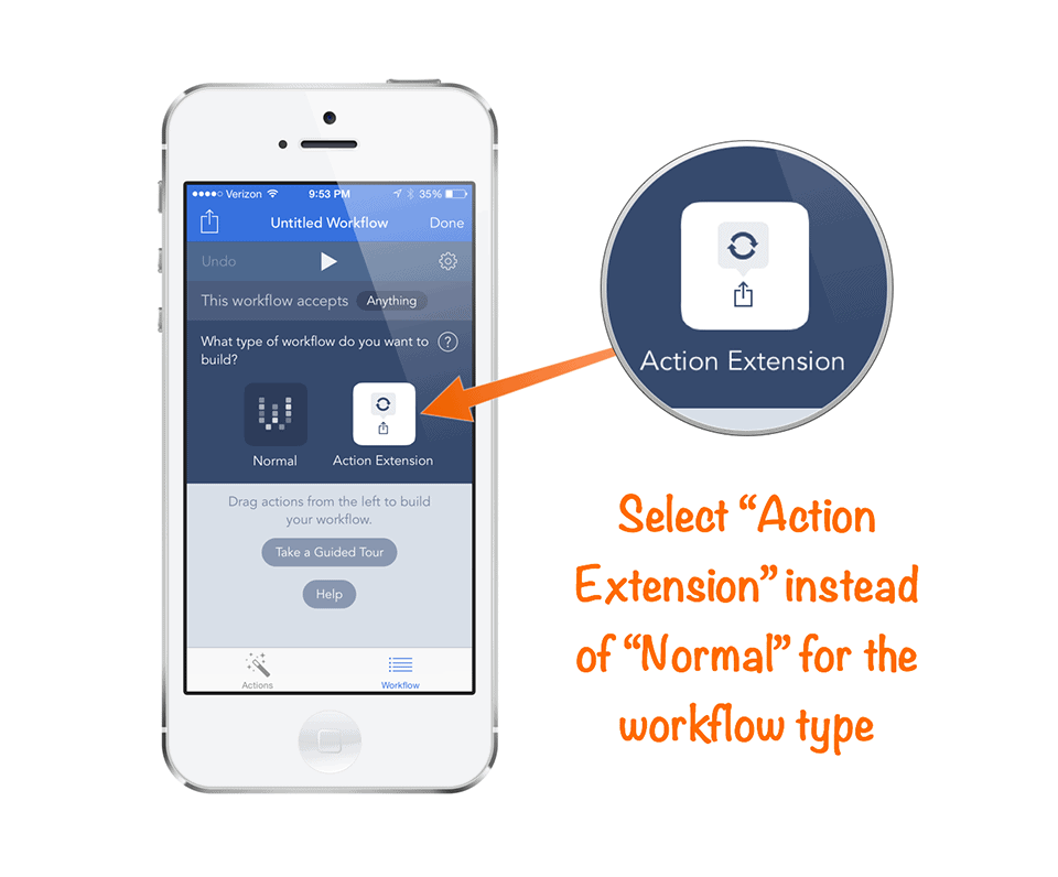 Select Action Extension in Workflow