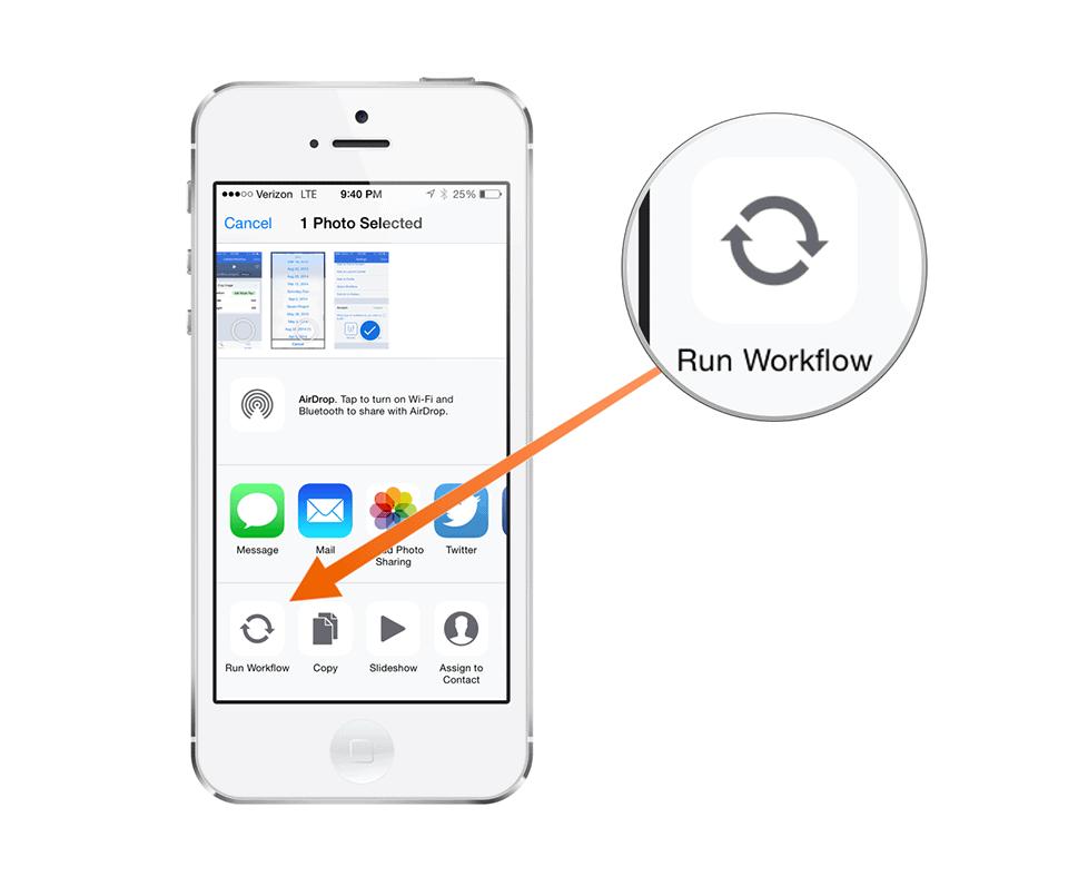 Run Workflow from Share Sheet