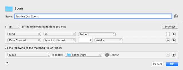 Zoom recording Hazel rule