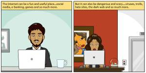 Comic on Internet safety (English, Hindi, Marathi & Spanish)