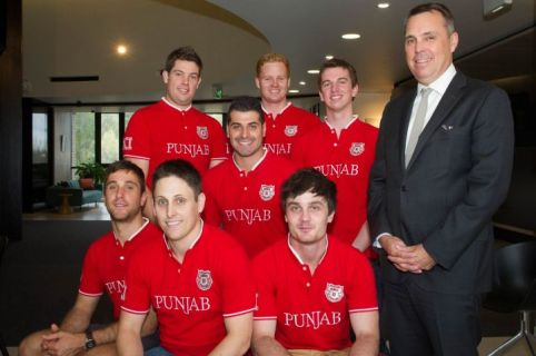 Andrew, Tom, Demis, Simon, Jarryd, Nick, Evan and La Trobe University's Director of Sport, Professor Russell Hoye. Image: La Trobe University