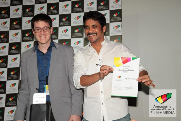 Chris Higgins working with Telgu actor Akkineni Nagarjuna at Annapurna School of Film and Media