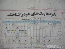 2009年イラン大統領選挙における国営放送の選挙キャンペーン番組表。赤、青、黄、緑で色分けされた4候補の出演スケジュールが一目で分かる。