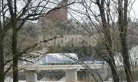 A Trading truck crossing the border bridge to enter North Korea. ASIAPRESS