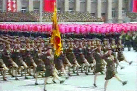 "Female troops, presumably a paramilitary unit composed of university students, march at the 60th anniversary ""victory day"" of Korean War.(July.2013. A screen grab from the North Korean state-run KCTV.)"