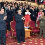 The photo compellingly illustrates that Chang Song-taek and Kim Jong-un are equal. It seems that everyone in the theatre, including Kim Kyung-hee (Chang's wife) and Choe Ryong-hae (one of top power men) is giving a big hand to Kim and Chang. (Quoted from the article of Rodong Shinmun reporting band concert for the celebration of Kim Il-sung's birthday on April 15, 2013)