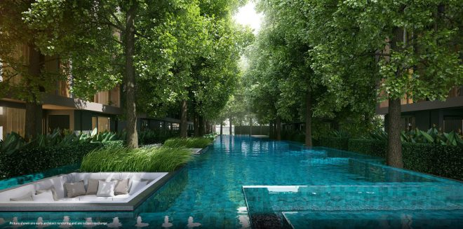 Showcasing the 60-metre emerald lagoon swimming pool facility of VTARA Sukhumvit 36. | Image taken from V Property Development project website gallery.