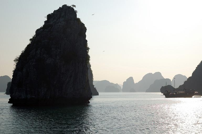 A view of the calm open waters of Halong Bay