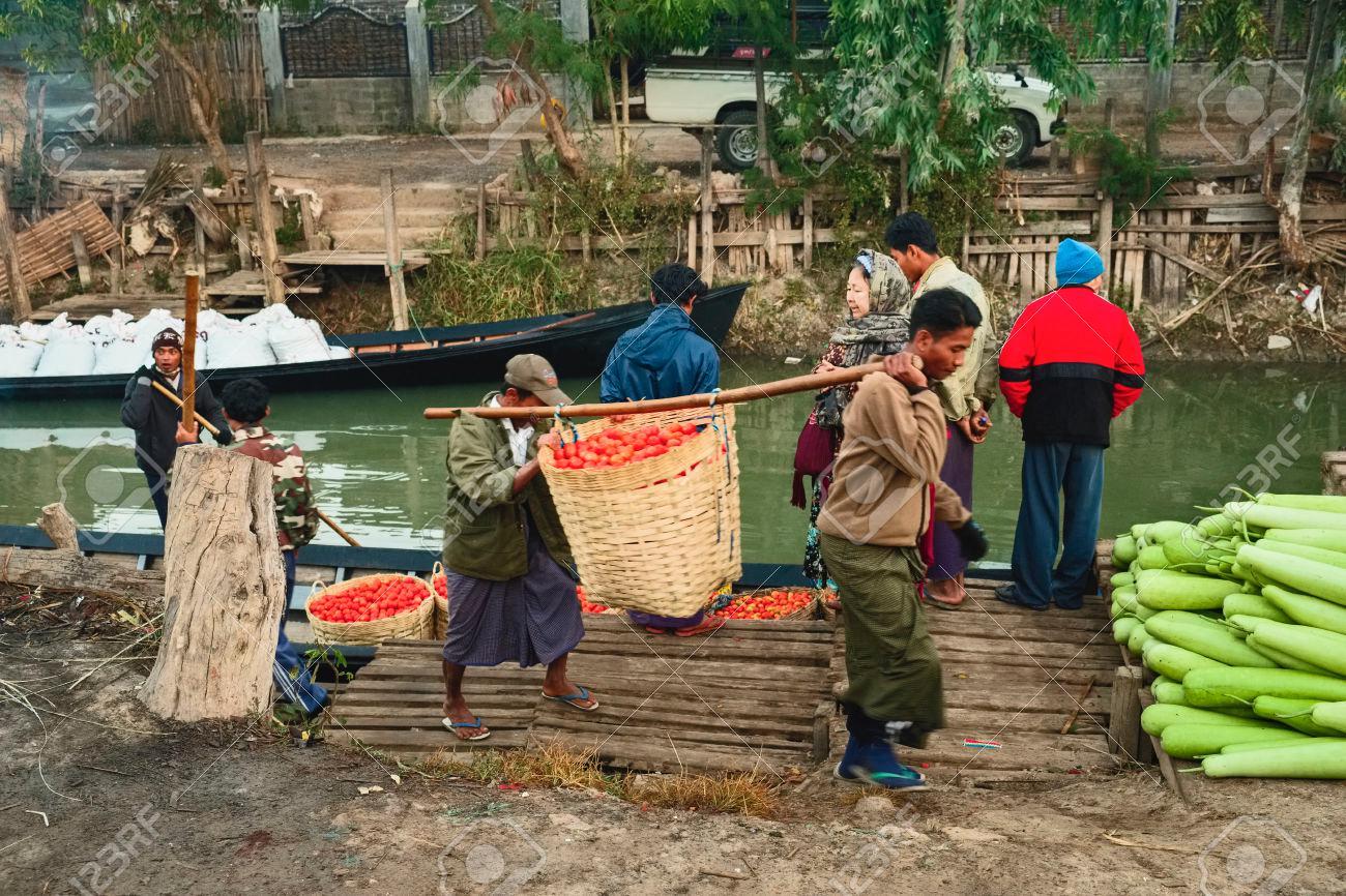 Farmers unload tomatoes, Nyaung Shwe, Inle Lake, Myanmar, Asia