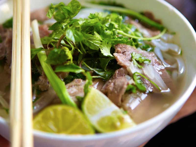 Fresh bowl of pho bo